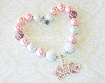 Princess Party Pink Princess Chunky Necklace Crown Pendant Pink Bubblegum Bead Toddler Necklace Princess Birthday Outfit