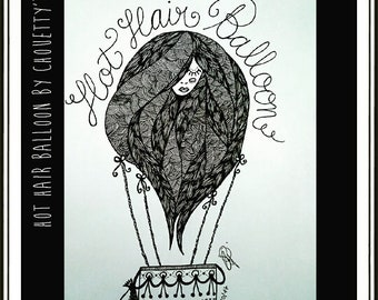 Hot Hair Balloon - Illustration - ink pens