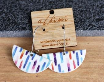 Porcelain Dangle Earrings / Rainbow Stripe - Natural Ceramic ALKIMI / Surgical Steel / Gift Idea / Woman / Women / Mom / Sensitive Ears