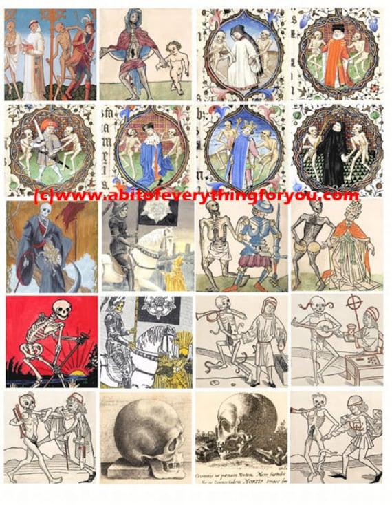 death skeleton macabre art collage sheet 2 inch squares clip art digital download graphics images craft printables