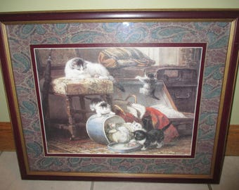 Henriette Ronner cat and kitten print matted and framed