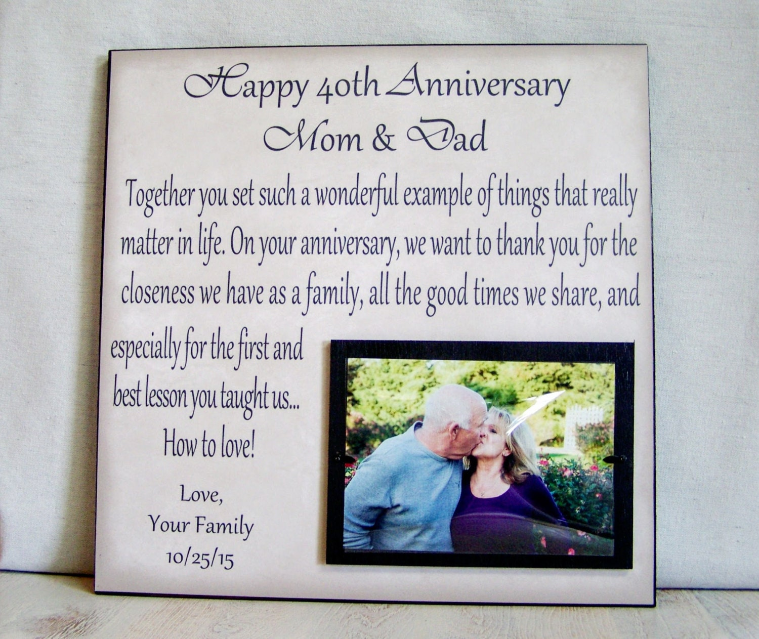 Anniversary Picture Frame Gift 40th on 30th Anniversary Personalized Ts