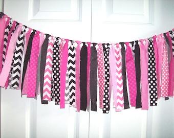 Minnie Mouse Inspired Rag Tie Banner, Pink-Black Rag Tie Garland, Rag Banner, Photo Prop, 1st Birthday, baby shower, Birthday Banner, party