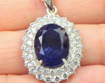 Natural Iolite,Tanzanite Hue, Sterling Silver Necklace, Double CZ Halo, High Fashion Jewelry