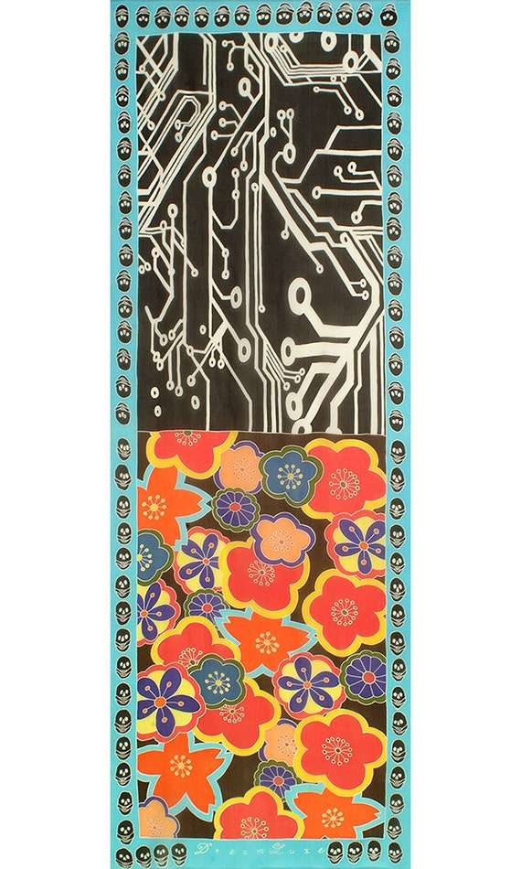 Silk scarf with Japanese flowers skulls  and circuit board design