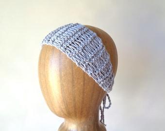 Gray Cotton Headband, Hand Knit Tie Back, Head Wrap Scarf, Cute Chic Summer Fashion, Women Teen Girls, Open Lace Design