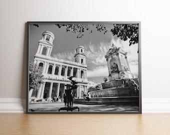 Saint Sulpice church, Paris, France / Landscape, Black & White / Wall art decor, print, photo, printable, photography, digital download