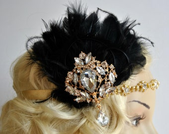 Vintage Inspired Headband, The Great Gatsby Headband, 1920s headpiece, Flapper Feather Headband, 1920's, Gold, Black ,rhinestone