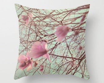 Pink Flower Pillow Cover, Tree Photo Pillow, Magnolia throw pillow, Pink Mint Pillow,  Flower decorative Pillow, Living Room decor, 16x16