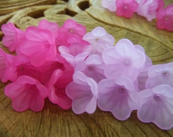 40 pcs Frosted Bell Flower Acrylic Beads Mix Pink & Purple Colours 15mm x 10mm