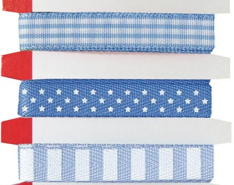 LOT 6M ARTEMIO SCRAPBOOKING HEART GINGHAM STAR FEATURES SKY BLUE POLKA DOT RIBBON