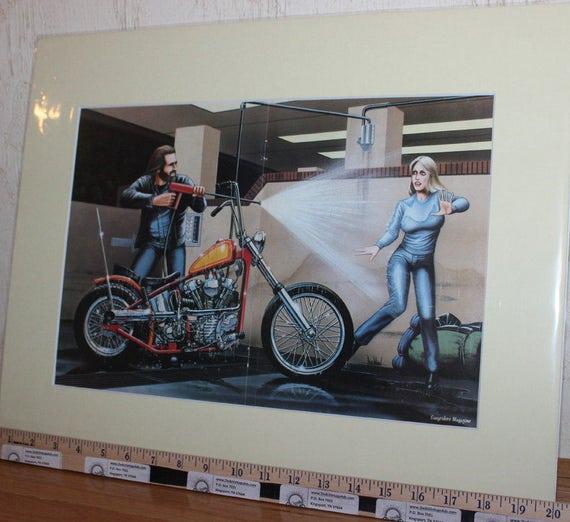 David Mann ''Bike Wash'' 16'' x 20'' Matted Motorcycle Biker Art #8310ezrxm