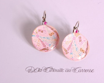 Earrings light pink Japanese print