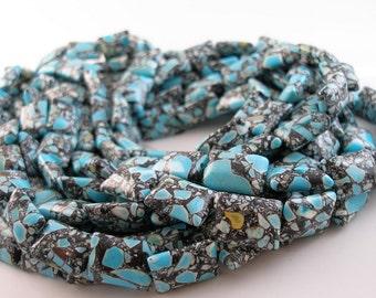 Mosaic Magnesite Turquoise 18mm  Rectangle Gemstone Beads G128