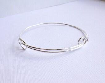 Adjustable Bangle Bracelet Component -- Fine Silver Plated -- Nunn Design