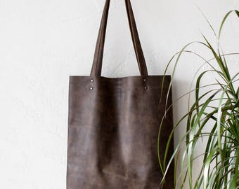 Distressed Khaki Brown Leather Tote bag No.Tl- 17065