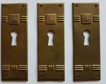 Vintage Key Hole Cover - Art Deco Style Key Hole Cover - Brass Key Hole Cover - Shabby Chic