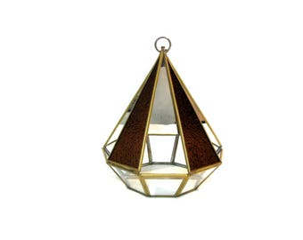Brass and Glass Pyramid Shaped Mirror Wall Pocket with Textured Root Beer Colored Glass Panels