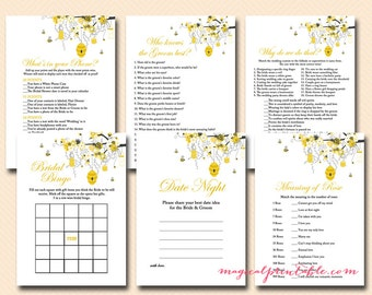 Bee Bridal Shower Game Printable, Honey Bee Bridal Shower, Unique Bridal Shower Games, Bachelorette Games, Wedding Shower Games BS29
