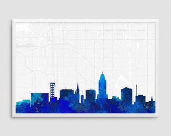 Lincoln Nebraska Cityscape and Street Map Blue Watercolor Art Print Office or Home Wall Decor