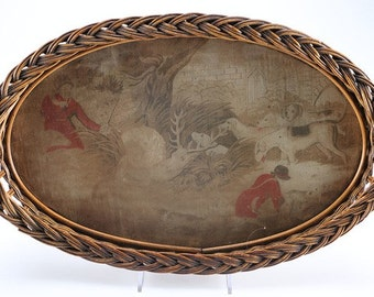 Round Wicker Tray   Antique Victorian Chinoiserie Oval Wicker/ Rattan Tray  Featuring A Asian Hunting