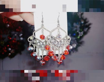 Gold-plated red swarovski crystal earrings