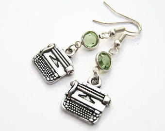 Typewriter Birthstone Earrings, Author Charm Earrings, Personalized Swarovski Crystal, Secretary Earrings, Writer Gift,  READY To SHIP