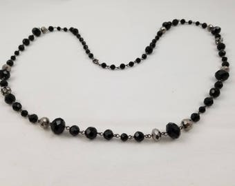 Brilliant Black Crystal Faceted Jewel Necklace