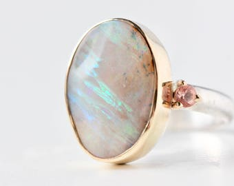 Boulder Opal and Oregon Sunstone Ring in Recycled 14k Gold and Sterling Silver -Flashy Gemstone October Birthstone - One of a Kind