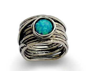 Sterling silver ring, stone ring, wrap wire ring, opal ring, gemstone ring, wide band, silver band, wide band-Imagine life in peace 3 R1505