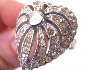 Vintage heart ring rhinestone ornate domed heart ring with adjustable band silver tone costume jewelry setting