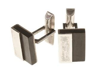 vintage sterling silver & ebony cuff links • 1950s modernist MCM cuff links