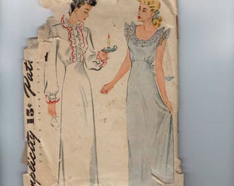 1930s Vintage Sewing Pattern Simplicity 1136 Misses and Womens Nightgown Negligee Lingerie Size 14 Bust 32 30s