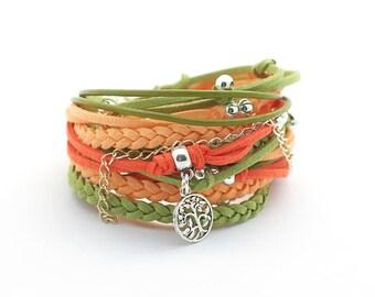 Gypsy Bracelet, Green Orange Wrap Bracelet, set for friend, Boho Jewelry, Hipster, charm bracelet, personalized gift, gift for her