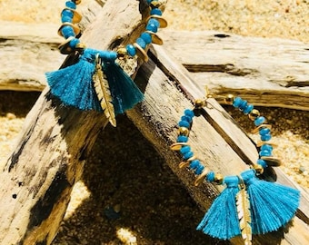 Tassel hoop earrings peacock blue