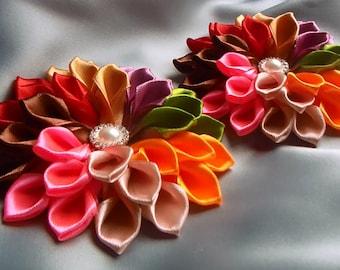 rainbow inspirational kids gift kanzashi fabric ribbon flower hair clip bows barrette rainbow hair gift