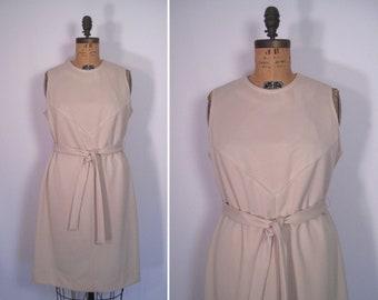 1960s sleeveless seamed shift dress • 60s neutral day dress • vintage Lorac Original spring summer dress