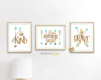 Woodland Gender Neutral Nursery Wall Art, Gender Neutral Nursery Theme, Let the Adventure Begin Wall Art, Mint and Gold foil