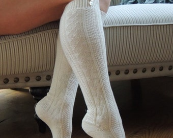 Knee High Boot Socks with Buttons Cotton Socks Gift Idea Mother's Day Oatmeal Boot Socks Skirt Socks Cozy Socks Womens Accessories