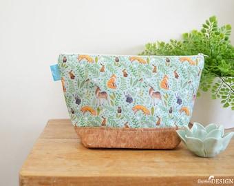 Woodland Animal Cork Wash bag, Vegan Leather Bag, Vegan Leather Clutch, Toiletry Bag, Nappy Bag, Cosmetic Bag, Cork Leather, Zipper Bag