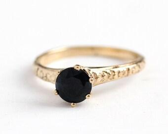 Sapphire Engagement Ring - Vintage 14k Yellow Gold Genuine 1.20 Carat Dark Blue Gemstone - Size 6 3/4 Fine Alternative Flower Bridal Jewelry