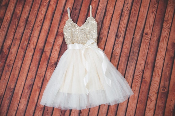 Sparkly Ball Gown Wedding Dresses: Ivory Tulle Flower Girl Dress Ball Gown Gold Sequin Dress