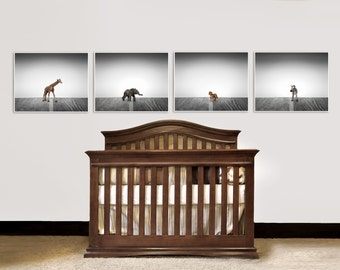 Set of Four Canvases Ready to Hang, Nursery Decor, Baby animal art, Baby room ideas, Safari animals in Grey Tones,