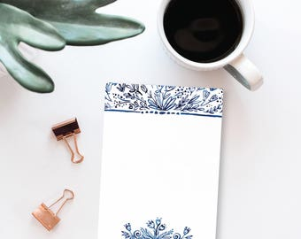 Indigo Florals Daily Notepad | Illustrated Watercolor Flower Notepad for Notes & Lists, Desk Stationery, Easter Gift Idea