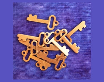 FINAL CLEARANCE - 200+ Copper Key Charms, DeSTASH, 21mm Genuine Copper Metal Skeleton Key Charms - Flat Sheet Copper Plated Metal Keys