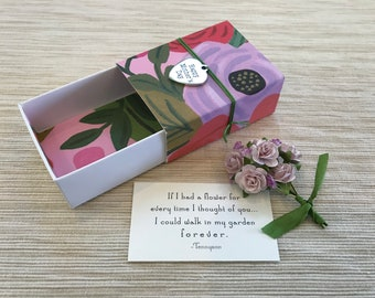Mother's Day Paper Flower Bouquet Message Box with fabric gift bag