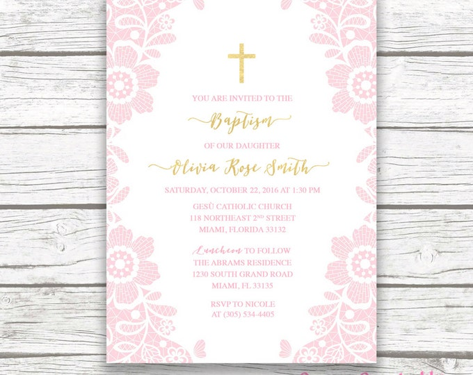 Baptism Invitation Girl, Communion Invitation, Christening Invitation, Lace Baptism Invitation, Pink and Gold Baptism Invite, Printable