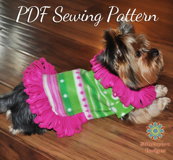 Small Dog FLEECE SWEATER PATTERN Dog Clothes Pdf Sewing