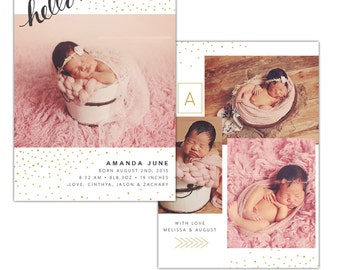 Birth announcement photoshop template - INSTANT DOWNLOAD - E1120