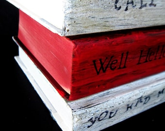 Painted Books, Painted Red Book, Romantic Titles, Red and White Books, Wedding Books, Beach Wedding, Home Decor, Wedding Shower Decor, Red